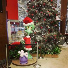 Christmas Squidward on display