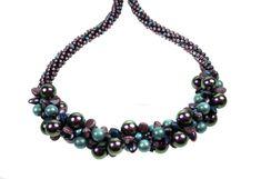 Complete Kit - Kumihimo 7 Strand Swarovski Iridescent Purple Pearl Necklace by SulisDesigns on Etsy Gel Glue, Pearl Necklace, Beaded Necklace, Swarovski Pearls, A 17, Necklace Designs, Iridescent, Kit, Beads