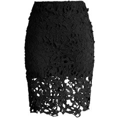 Chicwish Charme Crochet Lace Pencil Skirt in Black