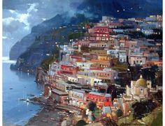 Positano nighttime oil painting - Vincenzo Aprile Positano