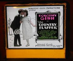 """Old Magic Lantern Glass Slide Movie Ad """"The Country Flapper"""""""