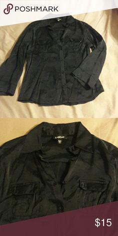 Bebe dressy top Black button down blouse. 96% Silk and 4% spandex. Great condition. bebe Tops Button Down Shirts