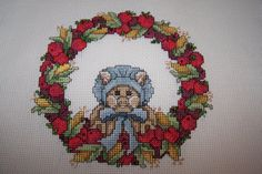 Counted Cross Stitch handmade by Patricia in her golden years. Ada cloth measures 11 1/2 x 11 1/2 with design measuring 6 1/4 x 6 allowing plenty of