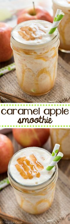 Caramel Apple Smoothie Recipe - an easy smoothie full of fall flavors. No added sugar, can be made dairy free! The perfect smoothie for kids. #weightlosstips