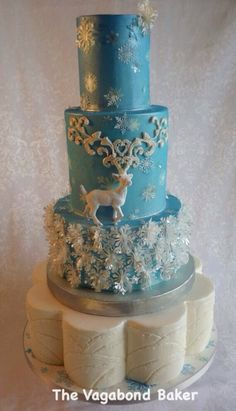 Reindeer and Snowflakes cake. - by TheVagabondBaker @ CakesDecor.com - cake decorating website