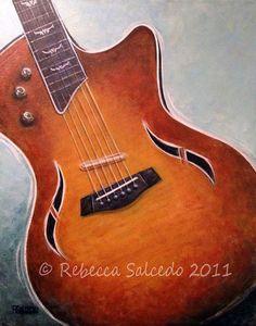 16x20 Original Painting Framed Taylor Hybrid Guitar by Rebecca Salcedo EBSQ FFAW Free US Shipping via Etsy