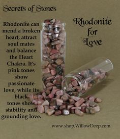 Secrets of Stones - Rhodonite for Love - Crystal Healing - Rhodonite can mend a broken heart, attract soul mates and balance the Heart Chakra. Its pink tones show passionate love, while its black tones show stability and grounding love. Love this stone