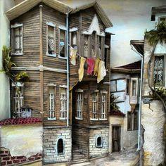 Rölyef,Relief,3d,Handmade,El yapımı,El İşi,Ahşap ev,Sokak Village Houses, Fairy Houses, Wood Sculpture, Wall Sculptures, 3d Paper Crafts, Paper Art, Istanbul, Turkish Art, Decoupage Art