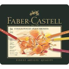Crayon Polychromos boîte métal de 24 pièces Faber Castell Polychromos 24, Design Set, Design Ideas, Prismacolor, Adult Coloring, Coloring Books, Artist Pencils, Drawing Letters, Porto