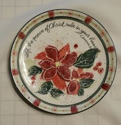 "Vintage ""Let the peace of Christ"" Col 3:15 Decorative China Plate Julie Ueland"