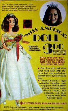 Miss America Walk Lively Barbie Doll Ad on cereal...can't believe she was only $3.00!!  I got this for my birthday.
