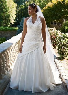 Taffeta Lace Halter A-Line with Side Drape - David's Bridal - mobile