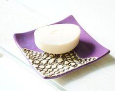 Savon plat, céramique et poterie, décoration de dentelle, Violet porte-savon porte-savon en céramique Violet pourpre, décor de salle de bains en céramique