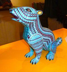 Large blue dog Alebrije.
