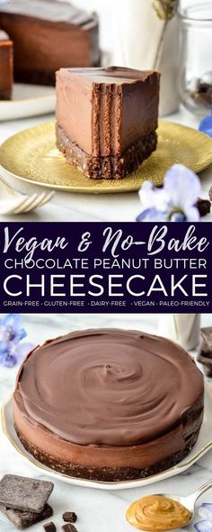This No-Bake Vegan Chocolate Peanut Butter Cheesecake recipe is a healthy yet decadent dessert! Gluten-free, dairy-free, vegan, and paleo-friendly! #vegan #dairyfree #glutenfree #grainfree #dessert #cheesecake #vegancheesecake #chocolate #peanutbutter #healthyrecipe #healthydessert