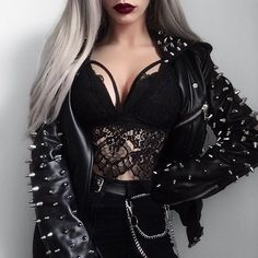 KILLSTAR Jacket 🖤 - - Best Picture For grunge goth gif For Your Taste You are looking for something, Bad Girl Outfits, Edgy Outfits, Mode Outfits, Cute Casual Outfits, Grunge Outfits, Fashion Outfits, Grunge Goth, Mode Grunge, Dark Fashion