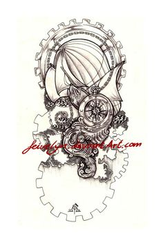 Steampunk Tattoo-design: 'Adventure' by Feivelyn