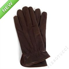 Dark Brown nubuck leather mens gloves with wool lining