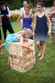 Are you looking for the most entertaining wedding reception games? Check out the top fun reception games to have the most cherishable time of your life. Giant Jenga, Jenga Game, Diy Reception Decorations, Wedding Reception Games, Jenga Wedding, Reception Ideas, Country Wedding Games, Life Size Jenga, Wedding Inspiration