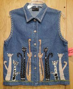 Kittys Denim Vest Crazy Cat Lady Embroidered Applique Design Blue Lg (item054) #NewDirections