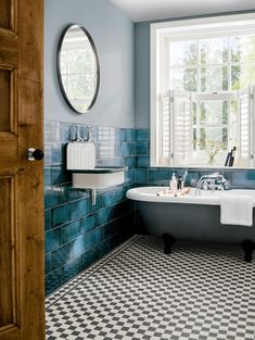 This is how to work patterned floor tiles into your space. Whether you're upgrading your bathroom or another area of your home, these striking tiles will look stunning in any room Wainscoting Bathroom, Bathroom Flooring, Bad Inspiration, Bathroom Inspiration, Bathroom Colors, Blue Bathroom Tiles, Peacock Bathroom, Art Deco Bathroom, Bathroom Ideas