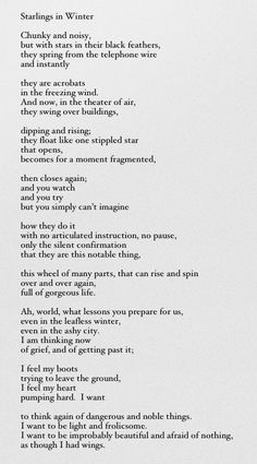 ...of grief, and of getting past it... | Mary Oliver, 'Starlings in Winter'