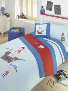 Boy's Embroidered Pirate Duvet Cover, Bed Set, Single bed 4-piece Set by ., http://www.amazon.co.uk/dp/B00A4AYSOA/ref=cm_sw_r_pi_dp_1eHjtb03XVAMG