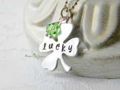 Shamrock Necklace Clover Necklace 4 Leaf by Unique2chicdesigns