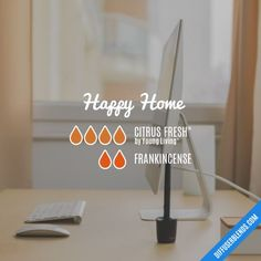 Happy Home - Essential Oil Diffuser Blend: Citrus Bliss, Frankincense Young Essential Oils, Essential Oils Guide, Essential Oil Scents, Essential Oil Diffuser Blends, Essential Oil Uses, Doterra Essential Oils, Essential Oil Combinations, Aromatherapy Oils, Perfume