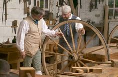 Williamsburg Wheelwright | Tradesmen in the wheelwright shop use colonial techniques to create ...