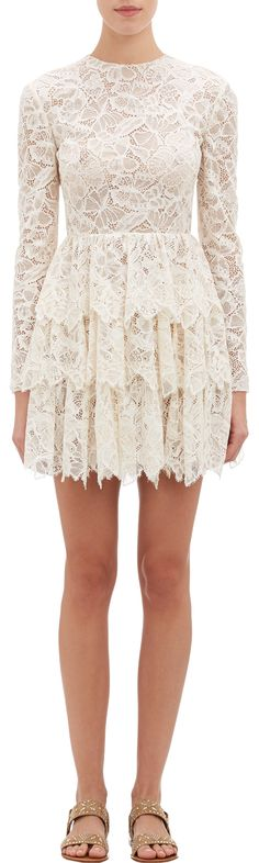 valentino butterfly lace tiered dress | barneys.com