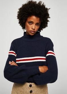 Striped contrast sweater - Woman | MANGO United Kingdom