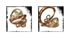 Copper wire wrapped ring. Fresh water pearls.