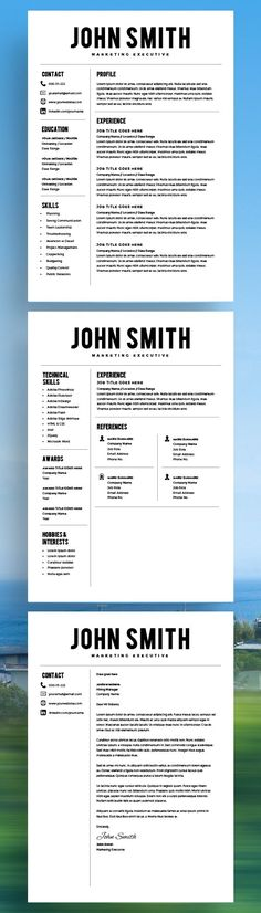 Resume Template - Resume Builder - CV Template - Free Cover Letter - MS Word on Mac / PC - Sample - Best Resume Templates - Instant Download