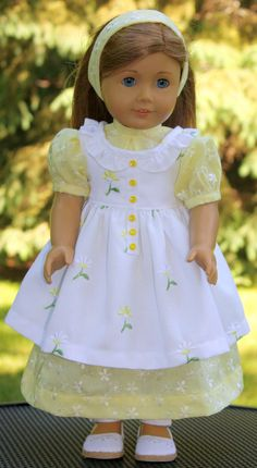 American Girl Doll Clothes-Old Fashioned Pinafore Dress and