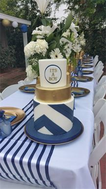 Navy gold and white babyshower cake. Its a Boy, Nautical, elegant babyshower  Cake-a-mania.com for details. located in Southern California