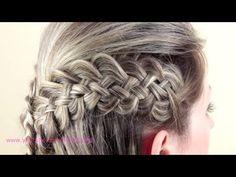 Причёска с плетением из 5 прядей. Hairstyle of braids - YouTube