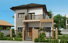 Marcelino Model is a a four bedroom two storey house that can be built in a x meter lot. With Patio at the front, the Balcony at the second floor serves as a shade. The living room is 25 sq. which opens to the dining and kitchen. Two Story House Design, 2 Storey House Design, Duplex House Design, Small House Design, Modern House Design, Modern Houses, Four Bedroom House Plans, House Floor Plans, Philippines House Design