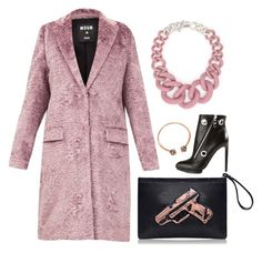 """""""Pink + Black"""" by cherieaustin ❤ liked on Polyvore featuring moda, MSGM, Alexander McQueen i Cartier"""