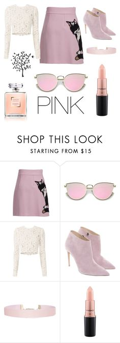 """""""a pink little cat 😊"""" by xallyss ❤ liked on Polyvore featuring MSGM, A.L.C., Ralph Lauren, Humble Chic, MAC Cosmetics and Godinger"""