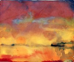 "forevernoon: "" Emile Nolde - Yellow Sea with small Steamships 1946 watercolour on paper Nolde Stiftung Seebüll, Neukirchen, Deutschland """