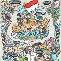 doodle art Bullet Journal 17, Indonesian Independence, Indonesian Art, Retro Wallpaper, Pencil Art Drawings, Art Pop, Illustrations And Posters, Graffiti Art, Doodle Art