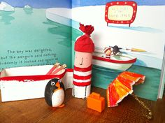 Lost and Found (Oliver Jeffers) world - boy is made of a tp tube; penguin from a styrofoam easter egg.