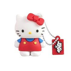 Tribe FD004303 Hello Kitty Pendrive Figur 4 GB Speicherstick Lustig USB Flash Drive 2.0 Memory Stick Datenspeicher, Schlüsselanhänger Kappenhalter, Classic, Rot