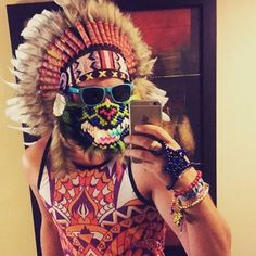 White Indian Headdress for SALE at http://indianheaddress.com/ Awesome outfit of our customer rocking our medium sized feather headdress