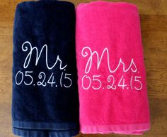 Mr. & Mrs. Beach Towel Gift Set Navy Blue and Pink Towel, Perfect Wedding Gift