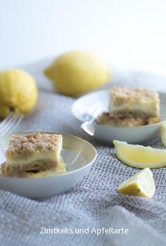 Zimtkeks und Apfeltarte: Zitronige Cheescake-Schnitten mit chrunchy-Streuseln... lecker fruchtig und schnell gemacht