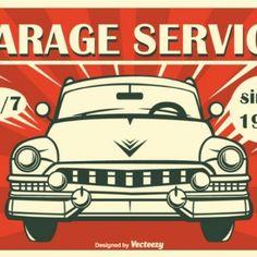 Garagem do vintage retro poster