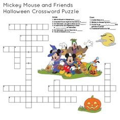 Mickey & Friends Printable Halloween Crossword