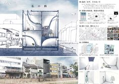 Circos International Architecture Competition / キルコス国際建築設計コンペティション Architecture Presentation Board, Modern Architecture Design, Architecture Drawings, Collage Illustration, Fields, Competition, Floor Plans, Graphic Design, Building